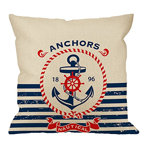 Anchor Pillow Case,Vintage Retro Nautical Sailing Anchor Ring with Aztec Stripe Cotton Linen Cushion Cover Square Standard Decorative Throw Pillow for Men/Women/Kids 18x18 inch White Navy Blue Red