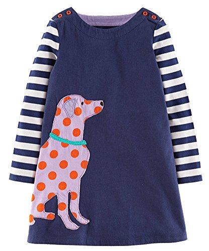 Fiream Girls Cotton Casual Longsleeve Striped Applique Dresses (7T, Dog)