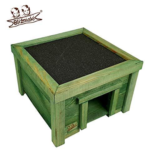 BLIŹNIAKI Hölzernes Igelhaus- 31x31x21cm Holzboden Imprägniert - WETTERFEST Igelhütte ECO Igelhaus aus Holz Igelhotel für den Garten HDJ4 K