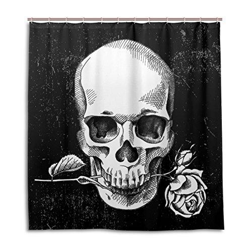 MyDaily Duschvorhang mit Totenkopf- und Rosenblüten-Motiv, 167,6 x 182,9 cm, schimmelresistent und wasserfest, Polyester, Dekoration für das Badezimmer