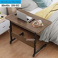家具のノートパソコンデスクベッドサイドコンピュータラップトップテーブル可動式高さ調節可能な木材+スチールフレーム現代のシンプルな コンピュータサイドテーブル (Color : Simple 80cm Color B)