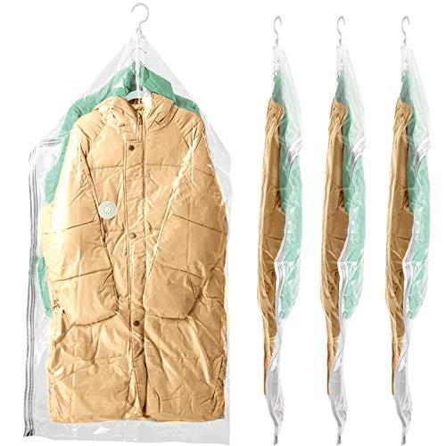 BRIAN & DANY 4 Stück Vakuumbeutel für Kleidung zum Aufhängen, 135 x 69 cm Vakuumverpackung Aufbewahrbeutel für Anzüge, Kleider, Mäntel