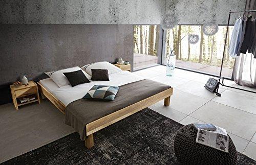 SAM Massiv-Holzbett 200x200 cm Columbus in Wildeiche natur, ohne Kopfteil, 100% FSC®-zertifiziert