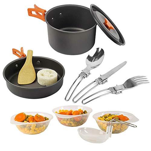 Bouilloire et Vaisselle de cuisinière à Casserole en Plein air Portable pour 2 Personnes, Sac à Dos pour ustensiles de Cuisine pour Trekking et randonnée de Pique-Nique