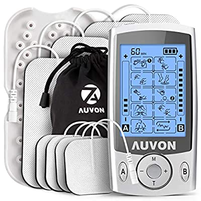 """AUVON Dual Channel TENS Machine for Pain Relief, TENS Unit Muscle Stimulator with 20 Modes, 2"""" and 2""""x4"""" TENS Pads Replacement"""