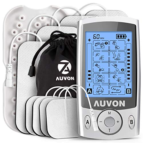 AUVON Dual Channel TENS Unit Muscle Stimulator Machine with 20 Modes, 2  and 2 x4  TENS Unit Electrode Pads