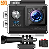 【Big Sale】 JEEMAK Action Camera 4K Ultra HD 20MP with EIS Anti-Shaking 170° Adjustable Wide View Angle 40M Waterproof Underwater Camera 2 Batteries Professional Accessories Kits