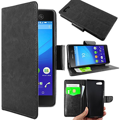 ebestStar - Coque Compatible avec Sony Xperia M5, M5 Dual Etui PU Cuir Housse Portefeuille Porte-Cartes Support Stand, Noir [Appareil: 145 x 72 x 7.6mm, 5.0'']