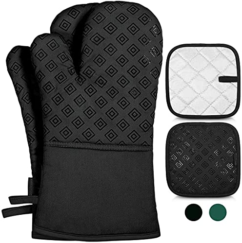 Oven Mitts and Pot Holders Sets - 500℉ Heat Resistant Oven Gloves Non-Slip Pot Holders for Cooking...