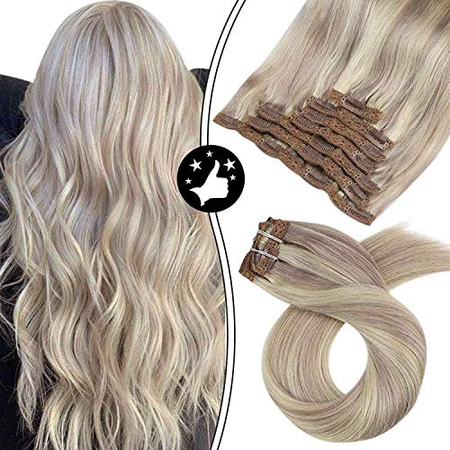 Moresoo Clip Extension Cheveux Naturel Remy Hair 20 Pouces Lisse Naturel Vrai Humains Clip Human Hari Extension Double Weft Blond #18 to Bleach Blond