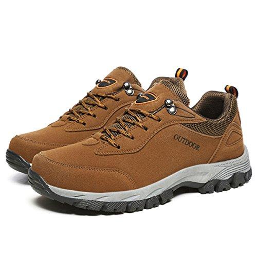 gracosy Sportschuhe, Trekking-Schuhe Unisex Wanderschuhe Halbschuhe Laufschuhe Sneaker Traillaufschuhe Bequeme Turnschuhe für Herren Damen Braun 44
