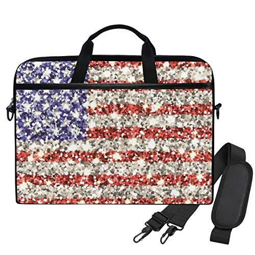 Laptop Shoulder Bag Sequin US Flag 15.6 Inch Laptop Case for Women Men