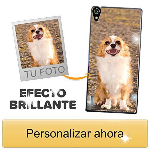 Funda móvil Personalizada con Efecto Brillante para Huawei P7 con Tu Foto, Imagen o Frase - Funda Blanda en TPU Gel Transparente - Impresión de máxima Calidad