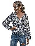 WDIRARA Women's Casual Polka Dots V Neck Ruffle Long Sleeve Peplum Blouse Top Black and White XL