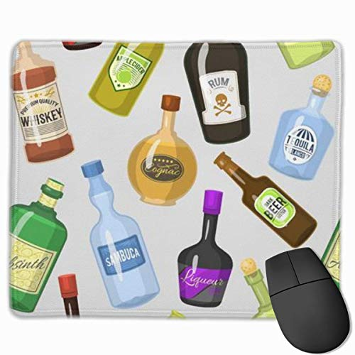 Mauspad Alcohol Strong Drinks Bottles and Cocktail Glasses Whiskey Cognac Brandy Beer, Vernähter Rand, geeignet für Büro und Gaming Maus(300 x 250 mm)