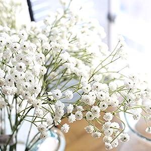 Silk Flower Arrangements Klun 1Pc Gypsophila Artificial Flower Baby Breath Romantic Wedding Bridal Bouquet Party Floral Arrangement (White)