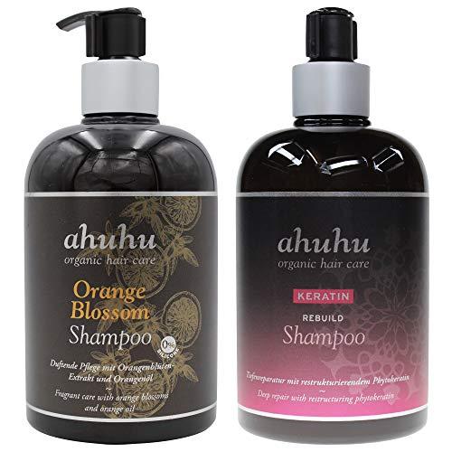 ahuhu KERATIN Rebuild Shampoo 500ml + Orange Blossom Shampoo 500ml