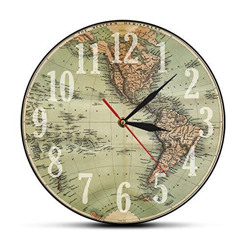 yage Reloj de Pared Impreso con Mapa del Mundo Verde del hemisferio Occidental Antiguo de 1860, Reloj de Pared Retro con Mapa del Globo terráqueo