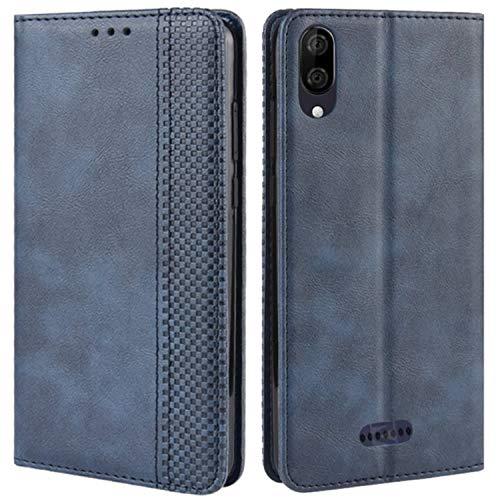 HualuBro Handyhülle für Wiko Y80 Hülle, Retro Leder Brieftasche Tasche Schutzhülle Handytasche LederHülle Flip Hülle Cover für Wiko Y80 2019 - Blau