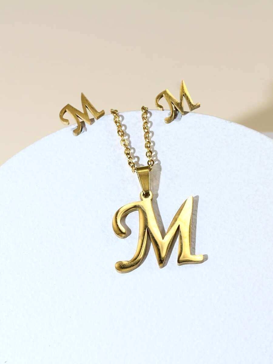 ZHAWE Translated Ranking TOP18 Women's Jewelry Set 3pcs Series Letter Decor