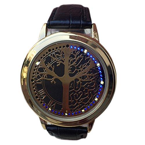 BlueVega Kunstleder Armband Uhr-Vorwahlknopf-Edelstahl Baum Berühren Sie den Bildschirm LED-Blau-Schwarz