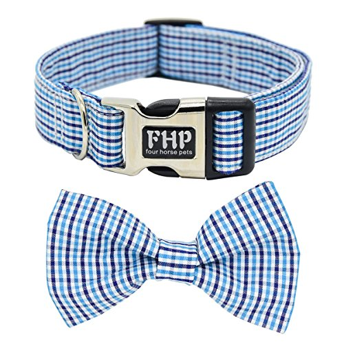Fourhorse Cute Soft Dog and Cat Collar with Bowtie, Detachable Adjustable Bow Tie Collar Pet Gift...