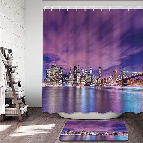 Juego de cortinas de ducha antideslizantes para baño,Horizonte de la ciudad de Nueva York en la noche con rascacielos Manhattan USA Alfombrilla de baño y cortina de ducha Impermeable(150x180cm)