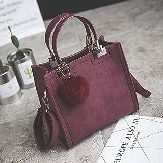 DXFEEL Handbags women shoulder bag luxury handbags High-grade Scrub Leather Messenger Bag with Plush Ball(Black)