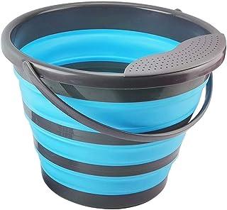 Seau de 10 litres pliable en silicone - Seau pliable de 10 l - Seau en silicone pour le nettoyage du camping, de la pêche,...