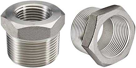 "Beduan Stainless Steel Reducer Hex Bushing, 1/2"" Male NPT to 1/4"