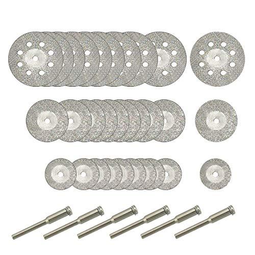 Hamineler 30 Pcs Diamond Cutting Wheel (25mm/20mm/16mm Each 10), Diamond Coated Cutting Wheel and 6pcs 3mm Mandrel for Rotary Tool