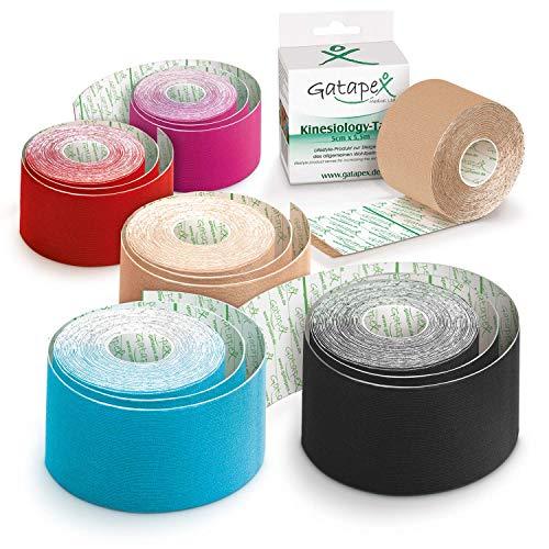 Mixed-Box Gatapex Kinesiology-Tape 6 x 5,5m, 2x haut, je 1x rot, pink, hellblau u. schwarz