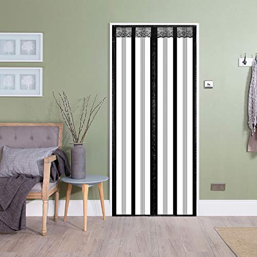 Insulated Door Curtain,Thermal Door Cover EVA Magnetic Screen Door Warm Winter Cool Summer,Pet/Kids Walk Through Freely-for Kitchen/Bedroom/Air Conditioner Room(36 x 82 inch, Black Stripes Styles)