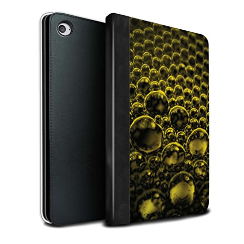 Stuff4 PU Lederen Boek/Cover Case voor Apple iPad Mini 4 tablets/Geel Design/Bubbles/Droplets Collectie