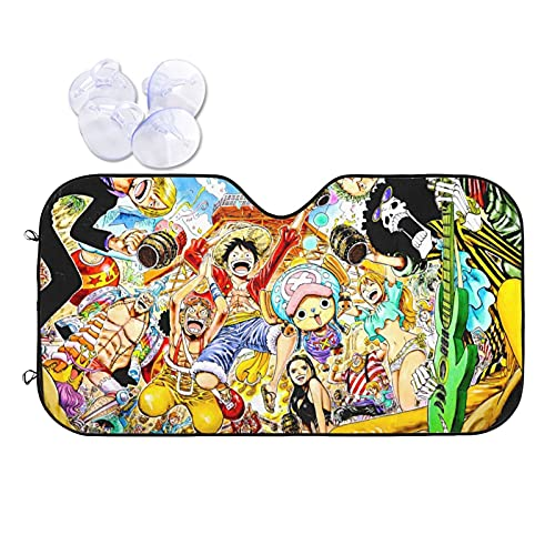 XKJFOTCY Anime One Piece Pirate Car Windshield Sun Shade-Blocks Uv Rays Sun Visor Protector, Foldable Sunshade to Keep Your Vehicle Cool and Damage Free,Easy to Use, Fits Windshields of Various Sizes