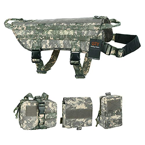 JYNQR K9 Tactical Dog Harness Training Vests,1010 D Military Canine Protective Chest Suit wiht Comfort Control Handles(8 Color 5 Size),ACU,XL
