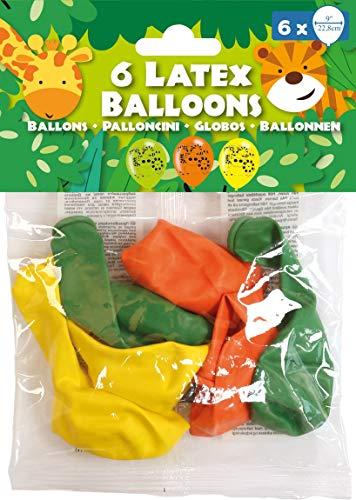 amscan 9901936 6 Latexballons Dschungel Tiere, Grün/Gelb/Orange