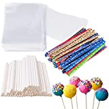 6 Inches Cake Pop Maker Kit 100Pcs Cake Pop Sticks 100Pcs Cake Pop Bags and 100Pcs Multicolor Twist Ties Total 300 Packs Lollipop Candy Making Tools