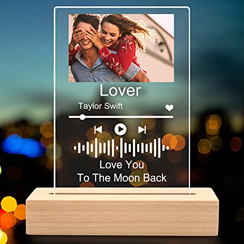 PFC4U, Custom Music Art Plaque Night Light Personalized Scannable Song Album Cover Photo Plaque Lamp Gifts Home Decor