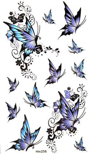 Watertight and sweat tattoo sticker blue elegant butterfly