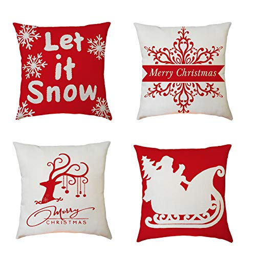 Xisheep 4 Pack Pillow Covers Merry Christmas Decorative Couch Pillow Cases Cotton Linen, Christmas Holiday Party Decoration