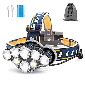 Lampe Frontale, 8 LED 8 Modes Torche Frontale, Phare Rechargeable USB Super Lumineux, Torches Frontales Étanche Puissante pour La Course, Pêche, Camping, Lecture, Randonnée