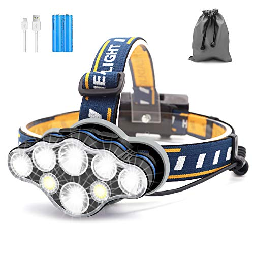 SYOSIN Head Torch, 8 LED 18000 Lumen Headlamp, USB Rechargeable Super...