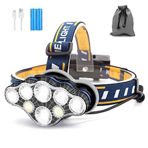 Lampe Frontale, 8 LED 18000 Lumens Torche Frontale LED Rechargeable USB, Torches Frontales Étanche Puissante pour Camping, Vélo, Escalade, Chasse, Pêche, Course