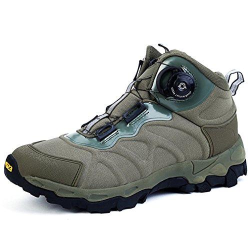 emansmoer Homme Imperméable Respirant Outdoor Sport Chaussures de Randonnée Trail Trekking High-Top Armée Combat Bottes (42 EU, Vert)