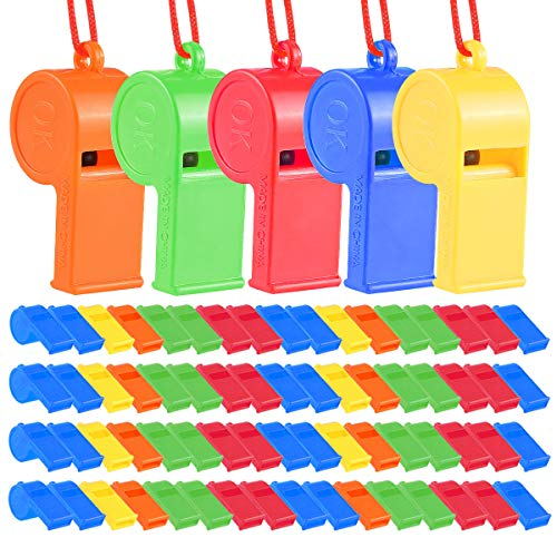 SWS 72Pcs Plastic Whistles, Training Sports Whistles with Lanyard, Loud Toys Whistles for Christmas Birthday Party Goody Bag Fillers Games Survival Emergency, 5 Brilliant Colors