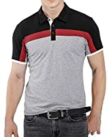 CHAKTON Mens Short Sleeve Polo Shirts Casual Slim Fit Contrast Color Designed Golf Cotton T-Shirt Black
