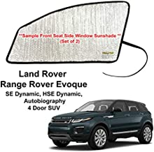 Side Window Front Seat Reflective Sunshade Custom Fit for 2012 2013 2014 2015 2016 2017 2018 2019 Land Rover Range Rover Evoque SE Dynamic, HSE Dynamic, Autobiography, 4 Door SUV (Set of 2)