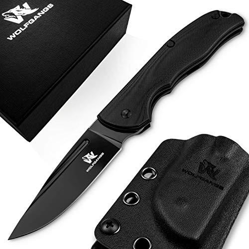 Wolfgangs RAVUS Zweihand Klappmesser aus D2 Stahl - Taschenmesser inkl. Kydex Holster (komplett schwarz)