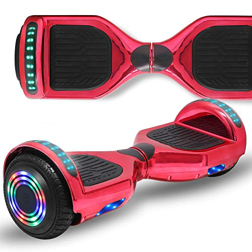 Longtime 6.5  Flashing Wheels Rechargeable Battery Self Balancing Scooter Electric Hoverboard for Kids and Adult Bluetooth Speaker LED Lights UL2272 Certified (Chrome Red)